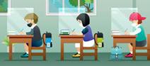 children wearing masks sitting at desks (clipart)