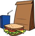 sandwich, juice box, and paper bag (Clipart)