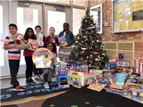 Toys for Tots Donations and Forest Road Students